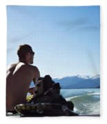A Athletic Man Sits And Looks Fleece Blanket