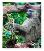 A Baboon In African Bush Fleece Blanket
