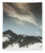 A Backpacker Gazes Up At Needle Peak Fleece Blanket