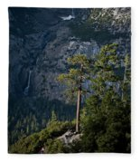 A Backpacker Hikes Down A Trail Fleece Blanket