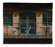 A Balcony On The River Aire Fleece Blanket