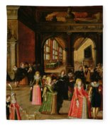 A Ball During The Reign Of Henri Iv Oil On Panel Fleece Blanket