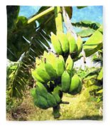A Banana Field In Late Afternoon Sunlight With Sky And Clouds Fleece Blanket