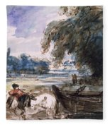 A Barge On The Stour Fleece Blanket
