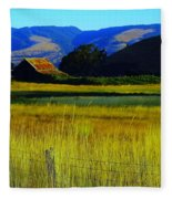 A Barn And Field In The Morning Fleece Blanket