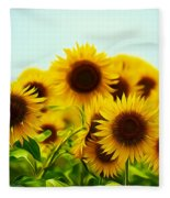 A Beautiful Sunflower Field Fleece Blanket
