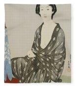 A Beauty In A Black Kimono Fleece Blanket
