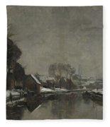 A Belgian Town In Winter Fleece Blanket