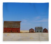 A Big Barn And Three Small Ones Fleece Blanket