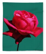 A Big Red Rose Fleece Blanket