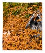 A Bird House Sits Empty In Fall Fleece Blanket