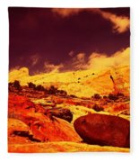 A Black Rock And Blue Sky Fleece Blanket