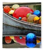 A Boat Full Of Color Fleece Blanket