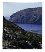 A Boat Sailing In The Valley Fleece Blanket