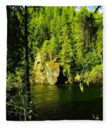 A Boulder Across The Seleway River  Fleece Blanket