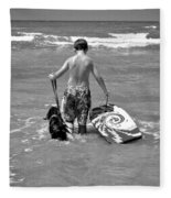 A Boy And His Dog Go Surfing Fleece Blanket