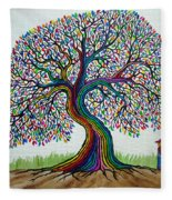 A Boy His Dog And Rainbow Tree Dreams Fleece Blanket