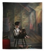A Boy Posed Reading Old Books Victoria Fleece Blanket