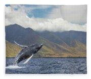 A Breaching Humpback Whale  Megaptera Fleece Blanket