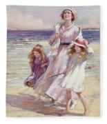 A Breezy Day At The Seaside Fleece Blanket