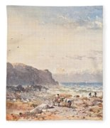 A Breezy Day With Fisherfolk On The Foreshore Fleece Blanket