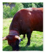 A Bull  Grazing On The Meadow Fleece Blanket