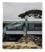 A Bulldozer Moving Dug Out Concrete And Fresh Earth Below The Concrete Fleece Blanket