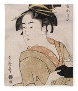 A Bust Portrait Of The Waitress Okita Of The Naniwaya Teahouse Fleece Blanket