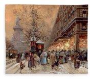 A Busy Boulevard Near The Place De La Republique Paris Fleece Blanket