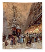 A Busy Boulevard Near The Place De La Republique Paris Fleece Blanket