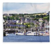 A Busy Harbour And Waterfrontkinsale Fleece Blanket