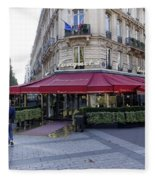 A Cafe On The Champs Elysees In Paris France Fleece Blanket