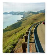 A Car Descends Conzelman Road Fleece Blanket