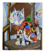 A Cat For Picasso_ Chat Et Souris Fleece Blanket