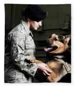 A Caucasian, Female Air Force Security Fleece Blanket