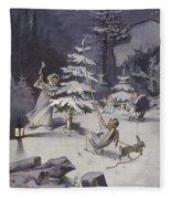 A Cherub Wields An Axe As They Chop Down A Christmas Tree Fleece Blanket
