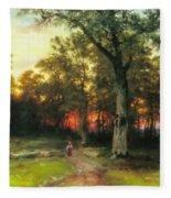 A Child Walks In A Forest Fleece Blanket