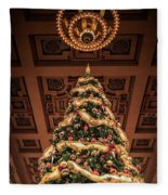 A Christmas Tree At Union Station Fleece Blanket