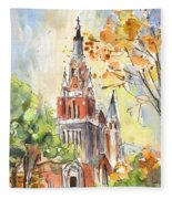 A Church In Our Street In Budapest Fleece Blanket