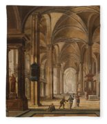 A Church Interior With Elegant People Fleece Blanket