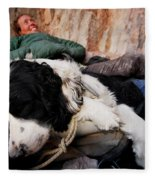 A Climber And Her Dog Lay Fleece Blanket