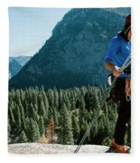 A Climber At The Top Of Pitch 3 On Swan Fleece Blanket