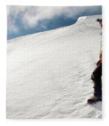 A Climber On The Glacier Of Cotopaxi Fleece Blanket