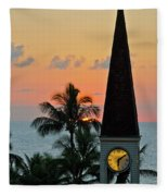 A Clock Tower At Sunset On Maui, Hawaii Fleece Blanket