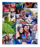 A Collage Of The Fresh Market In Kusadasi Turkey Fleece Blanket