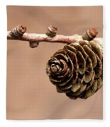 A Conifer Cone On A Tree Branch Fleece Blanket