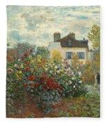 A Corner Of The Garden With Dahlias Fleece Blanket