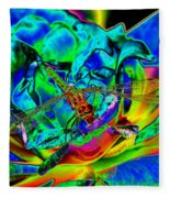 A Cosmic Dragonfly On A Psychedelic Rose Fleece Blanket