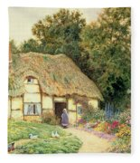 A Cottage By A Duck Pond Fleece Blanket