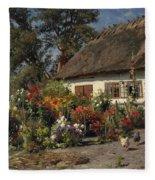 A Cottage Garden With Chickens Fleece Blanket
